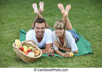 piknik, para, cieszący się, park