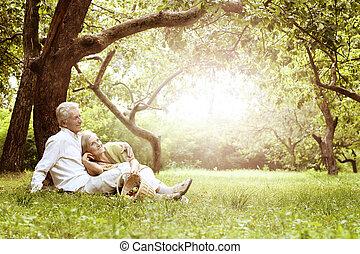piknik, para, stary, zabawny