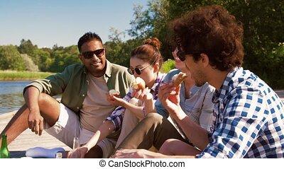piknik, przyjaciele, jezioro, posiadanie, rzeka, molo, albo