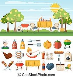 piknik, szalagcímek, grillsütő, compostion, ikonok