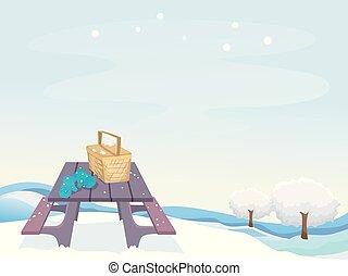 piknik, zima, ilustracja, scena
