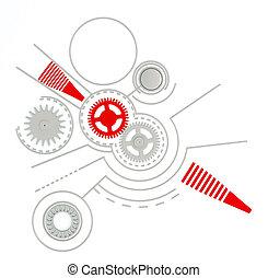 pikolak, inny, szczegóły, tło, techniczny, mechanizmy