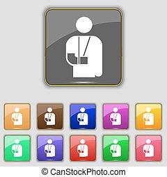 pikolak, komplet, barwny, złamany, poznaczcie., inwalidztwo, umieszczenie., jedenaście, ręka, wektor, twój, ikona