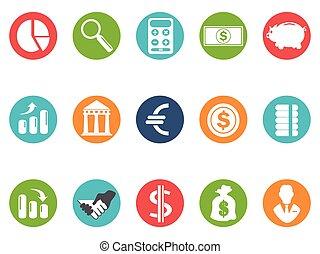 pikolak, komplet, okrągły, bank, ikona