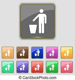 pikolak, komplet, poznaczcie., barwny, precz, rzucić, umieszczenie., jedenaście, wektor, śmieci, twój, ikona