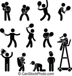 piktogram, gracz, rozjemca, tenis, ikona