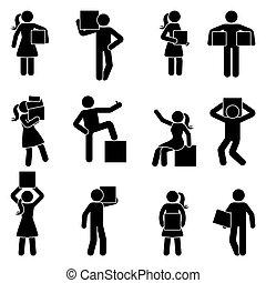 piktogram, kobieta, wtykać figurę, wektor, nośny boks, człowiek, ikona