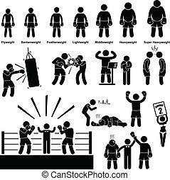 piktogramm, boxer, boxen, figur, stock