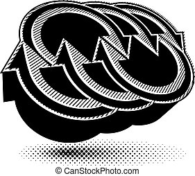 piktogramm, farbe, abstrakt, pfeile, symbol, ledig, vektor, begrifflich, icon., schablone, 3d