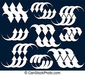 piktogramm, farbe, abstrakt, sammlung, pfeile, ledig, vektor, schablone, begrifflich, symbol, set.