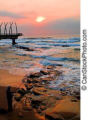 pilíř, a, východ slunce