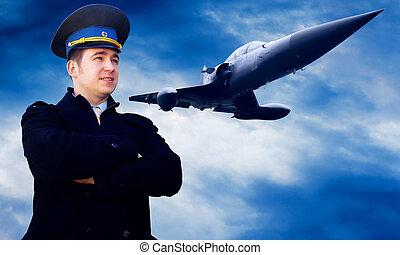 pilóta, és, military repülőgép, képben látható, a, gyorsaság