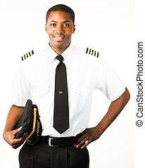 pilóta, fehér, elszigetelt, fiatal