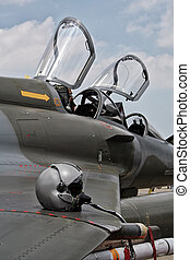 pilóta, sisak, képben látható, a, szárny, közül, egy, vadászrepülőgép