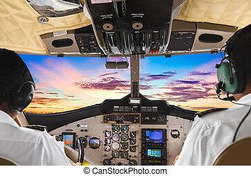 pilótafülke, repülőgép, napnyugta, próba