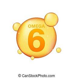 pil, 6, icon., capsule., essentie, druppel, droplet., gouden, illustration., het glanzen, vector, goud, vitamine, omega