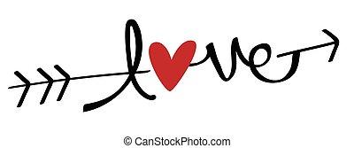 pil, elsk hjerte