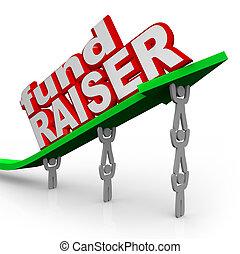pil, fundraiser, folk, fondera raiser, ord, lyftande