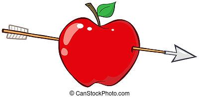 pil, genom, rött äpple