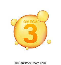 pil, icon., 3, capsule., druppel, essentie, droplet., gouden, illustration., het glanzen, vector, goud, vitamine, omega