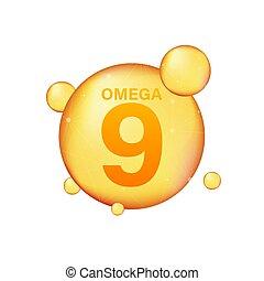 pil, icon., capsule., essentie, druppel, negen, droplet., gouden, illustration., het glanzen, vector, goud, vitamine, omega