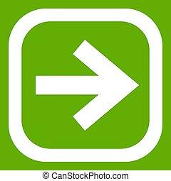 pil, in, fyrkant, ikon, grön