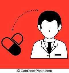 pil, pictogram, ontwerp, vrijstaand, arts