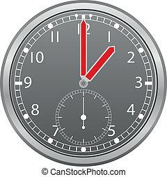 pil, röd, grå, illustration, klocka