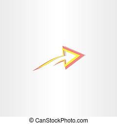 pil, symbol, abstrakt, gul, rød