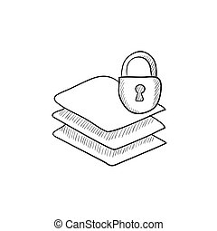 pila, cerradura, bosquejo, icon., papeles
