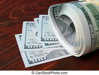 pila, de, 100, nosotros dólares, billetes de banco