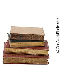 pila, de, antigüedad, libros
