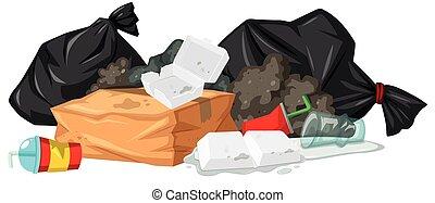 pila, de, basura, con, espuma, y, plástico