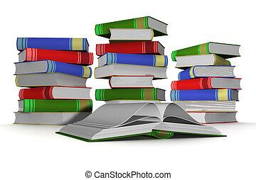 pila, de, books., 3d, el, aislado, image.