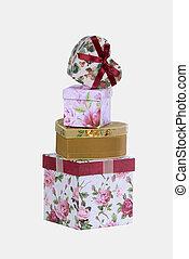 pila, de, cajas del regalo