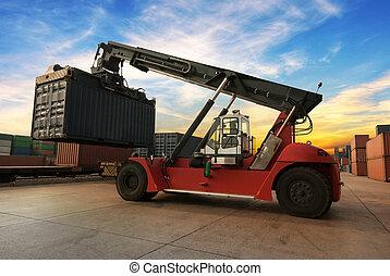pila, de, carga, contenedores, en, el