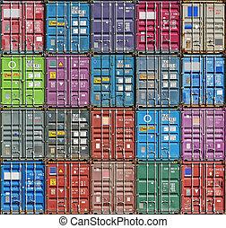 pila, de, carga, contenedores, en, el, diques