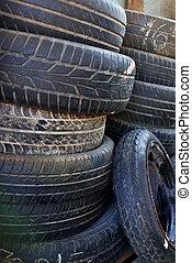 pila, de, coche, neumáticos