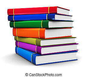 pila, de, color, hardcover, libros