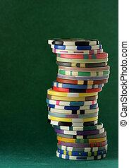 pila, de, colorido, pedacitos del casino