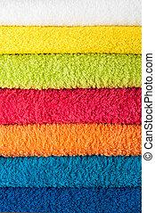 pila, de, colorido, toallas