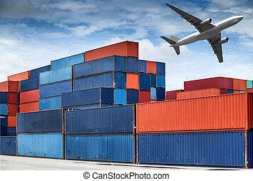 pila, de, contenedores carga