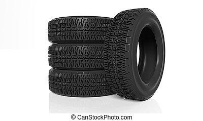 pila, de, cuatro, negro, neumáticos, aislado, blanco, plano de fondo