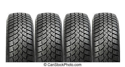 pila, de, cuatro, rueda de coche, invierno, neumáticos, aislado