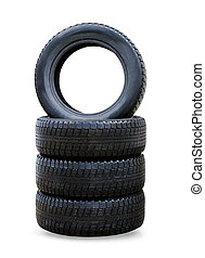 pila, de, cuatro rueda, nuevo, negro, invierno, neumáticos, para, coche