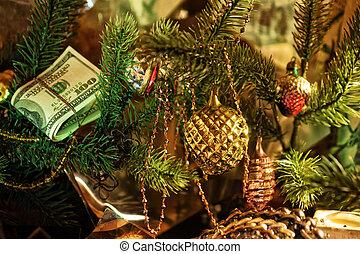 pila de dólares, debajo, el, navidad, abeto