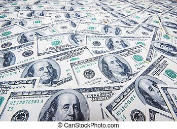 pila de dólares, en, dinero, plano de fondo