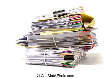 pila, de, empresa / negocio, papeles, aislado, blanco, plano de fondo