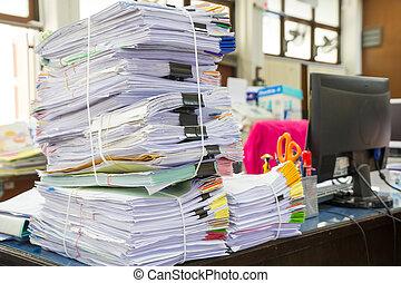 pila, de, empresa / negocio, papeles