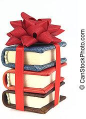 pila, de, libro, con, cinta